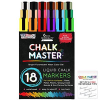 Us Art Supply Chalkmaster® Liquid Chalk Markers - Ultimate 18 Color Liquid Chalk Premium Artist Quality Marker Pen Set + 6 FREE Additional 6 mm Reversible Chisel to Bullet Point Tips - 100% Satisfaction Guarantee