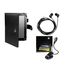 Insten INSTEN Black Leather Case+eBook LED Reading Light+Headset For Amazon Kindle Fire HD 7