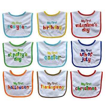 Hamco 9 Pack Holiday Bib Set