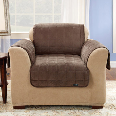 Sure Fit Deluxe Quilted Furniture Friend Chair Cover - Chocolate