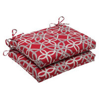 Pillow Perfect Outdoor 2-Piece Square Edge Seat Cushion Set - Red/Brown Keene