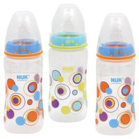 NUK Orthodontic Trendline 3-Pack Baby Bottles, Blue/Teal Dots, 10-Ounce (Discontinued by Manufacturer)