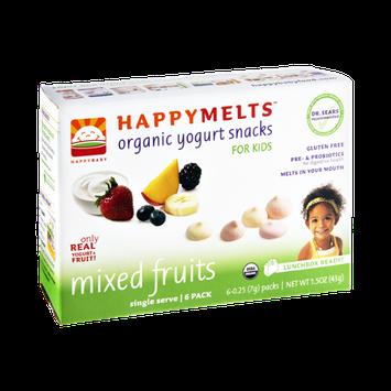 HappyBaby HappyMelts Kids Mixed Fruits Organic Yogurt Snacks - 6 PK