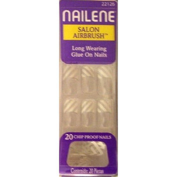 Nailene Salon Airbrush Glue On False Finger Nails Clear and White Stripe - 22126 (Glue not included)
