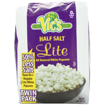 Vic's Popcorn Twin Packs Lite White Half Salt, 9 Ounce