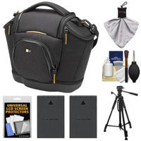 Case Logic Digital SLR Medium Shoulder Camera Bag/Case (Black) (SLRC-202) + (2) BLS-1 Batteries + Tripod + Accessory Kit for Olympus Evolt E-620, E-600, E-450, E-420 & E-410