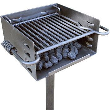 Titan Distributors Titan Single Post Park Grill Charcoal Grill BBQ Outdoor Heavy Duty Cooking Camp