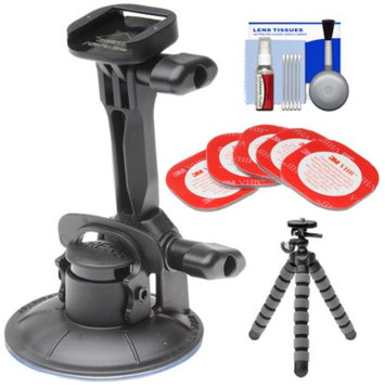 Replay XD Suction Cup Tilt SnapTray with 3M Mount Adhesive + Flex Tripod + Accessory Kit for Replay XD 1080 Mini, XD 1080, XD 720 Action POV Camcorders