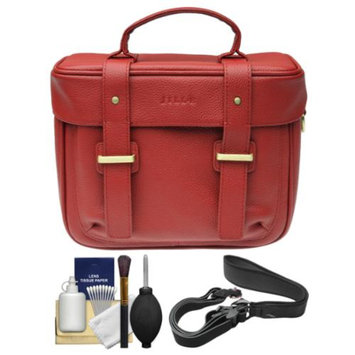 Jill-E Jill-e Juliette All Leather DSLR Camera Bag (Red) with Camera Strap + Cleaning Kit