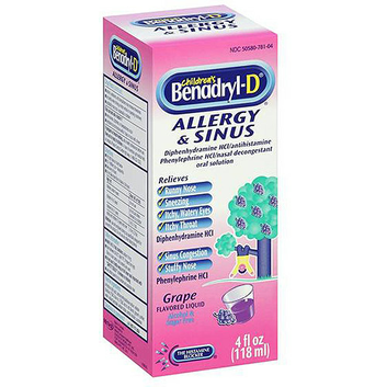 Benadryl -D Grape flavored Liquid Allergy & Sinus 4 fl oz