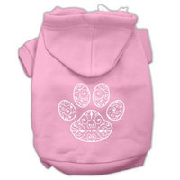 Mirage Pet Products Henna Paw Screen Print Pet Hoodies Light Pink Size Med (12)