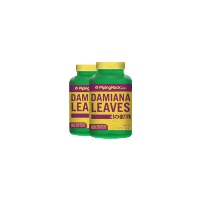 Piping Rock Damiana Leaves 450 mg 2 Bottles x 180 Capsules