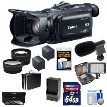 Canon Vixia HF G30 Flash Memory Wi-Fi 1080p HD Digital Video Camcorder with 64GB Card + 2 Batteries & Charger + Case + LED Video Light + Microphone + 3 Filters + Tele/Wide Lenses Kit