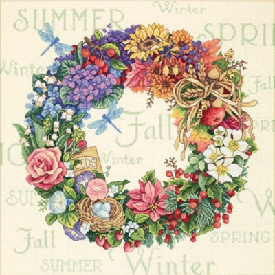 Dimensions Counted Cross Stitch Kit - Wreath of All Seasons