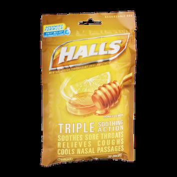 Halls Menthol Cough Suppresant/Oral Anesthetic Drops Honey-Lemon - 30 CT
