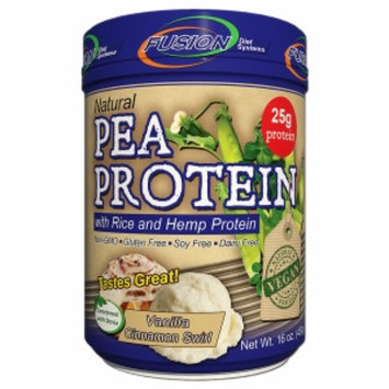 Fusion Diet Systems Natural Pea Protein with Rice & Hemp Protein, Vanilla Cinnamon Swirl, 16 oz