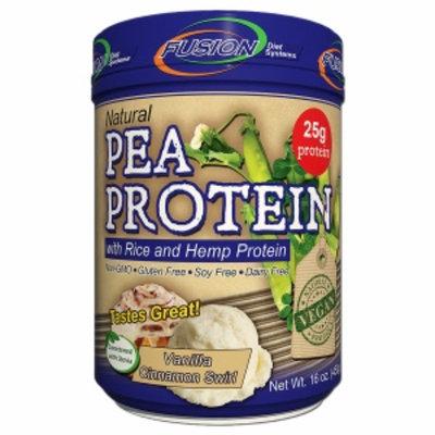 Fusion Diet Systems Natural Pea Protein with Rice & Hemp Protein, Vanilla Cinnamon Swirl, 16 oz