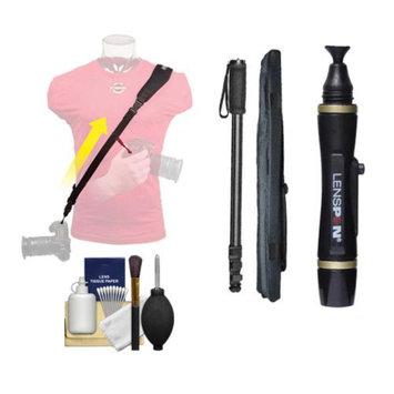OP/Tech Op/Tech USA Neoprene Utility Camera Strap-Sling (Black) with Monopod + Lenspen + Cleaning Kit for Digital SLR & ILC Cameras