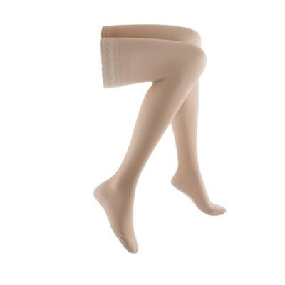 Sigvaris Women's Sheer Fashion 15-20 mmHg Closed Toe Thigh High Sock Size: B, Color: Natural 33