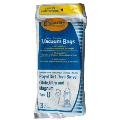 Envirocare Generic Micro-Lined Dirt Devil Style U Vacuum Cleaner Bags For Upright Models - 3pk