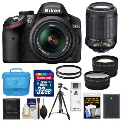 Nikon D3200 Digital SLR Camera & 18-55mm G VR DX AF-S Zoom Lens (Black) with 55-200mm VR Lens + 32GB Card + Case + Battery + Tripod + Filters + Tele/Wide-Angle Lenses Kit