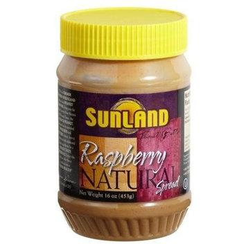 Sunland Raspberry Peanut Butter Spread (No Stir), 16-Ounce PET Jars (Pack of 6)