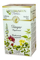 Celebration Herbals - Organic Caffeine Free Ginger Peppermint Herbal Tea - 24 Tea Bags