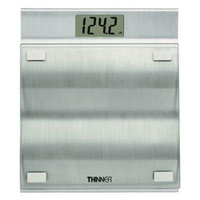 Conair Thinner Brushed Aluminum and Glass Scale, 400 Pound