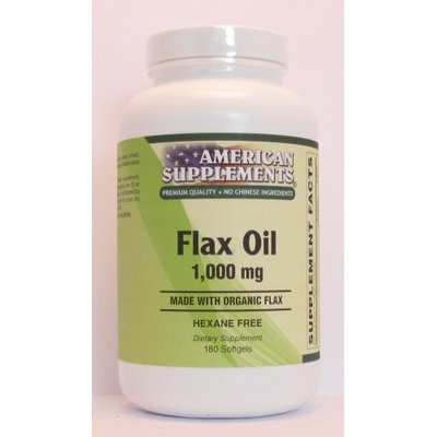 Organic Flax Oil 1000 MG No Chinese Ingredients American Supplements 180 Softgel