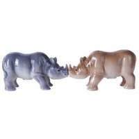4.75 inches Porcelain Animal Kingdom Rhinos Magnetic Salt and Pepper Shaker Kitchen Set