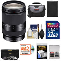 Sony Alpha E-Mount E 18-200mm f/3.5-6.3 LE OSS Zoom Lens + 32GB Card + Battery + Case + 3 Filters Kit for A7, A7R, A7S, A3000, A5000, A5100, A6000 Camera