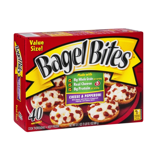 Bagel Bites Mini Bagels Value Size Cheese & Pepperoni - 40 CT