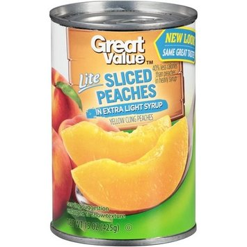 Great Value Lite Sliced Peaches in Extra Light Syrup, 15 oz