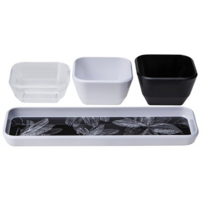 Room Essentials 4 Piece Dip Bowl with Tray - White/Black