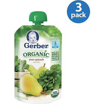 Gerber Organic 2nd Foods Pear Spinach Baby Food