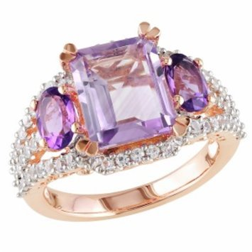 Amour Silver Rose de France, Amethyst & Created Sapphire Ring, Pink, White, Purple, 7, 1 ea