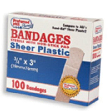 Preffered Plus Products Sheer Plastic Bandages Sterile With Non Stick Pad - 3/4 Inch X 3 Inches - 100 ea