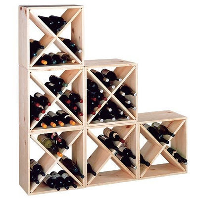 E Wine Racks 24-Bottle Pine Wine Storage Cube