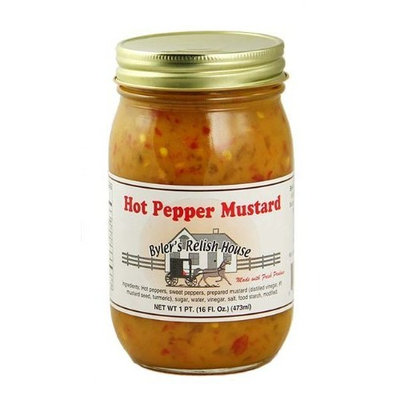 Byler's Relish House Homemade Amish Country Hot Pepper Mustard 16 oz.