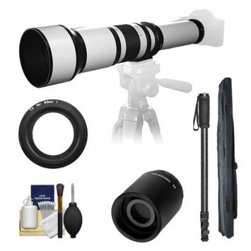 Samyang 650-1300mm f/8-16 Telephoto Lens (White) (T Mount) with 2x Teleconverter (=2600mm) + Monopod + Accessory Kit for Nikon 1 J1, J2 & V1 Digital Cameras