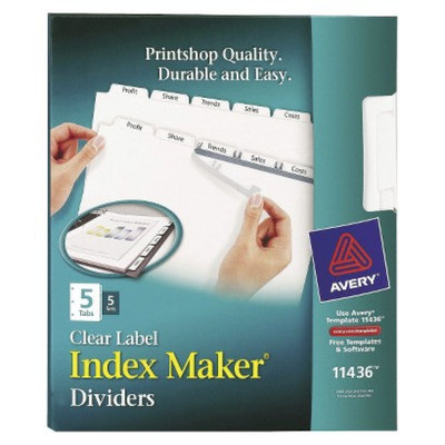 Avery Index Maker Label Dividers with 5 Tab, Letter - White (5 Sets