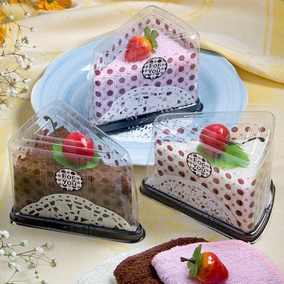 FashionCraft Slice Of Cake Towel Favor Assorted In White, Brown, and Pink