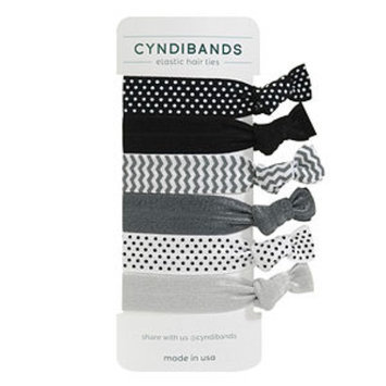 Cyndibands CyndiBands Set of 6 Print and Solid Hair Ties, Lark, 1 ea