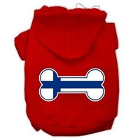 Mirage Pet Products Bone Shaped Finland Flag Screen Print Pet Hoodies Red XXXL(20)