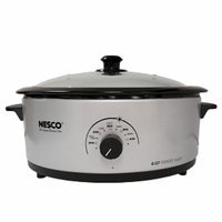 Nesco 6 Qt. 750 Wt. Roaster Porcelain Cookwell Glass Cover, Silver, 1 ea