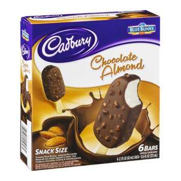 Cadbury Chocolate Almond Ice Cream Bars Snack Size - 6 CT