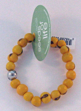 Seeds of Life Bracelet w Antique Silver World Bead Yellow Whitney Howard Designs