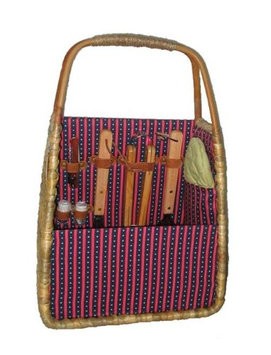 Picnic & Beyond Tuscan Seagrass BBQ and Wine Carrier with BBQ Tools