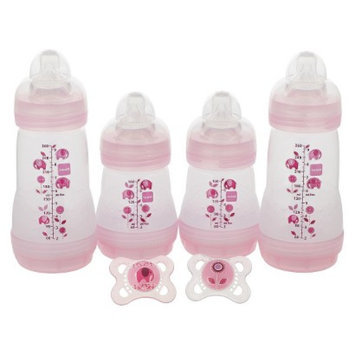 MAM Baby 0+ Months Pink 4-Bottle and 2-Pacifier Gift Set