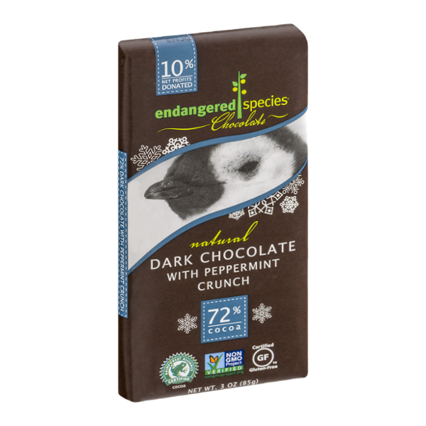 Endangered Species Chocolate Dark Chocolate Peppermint Crunch 72% Cocoa